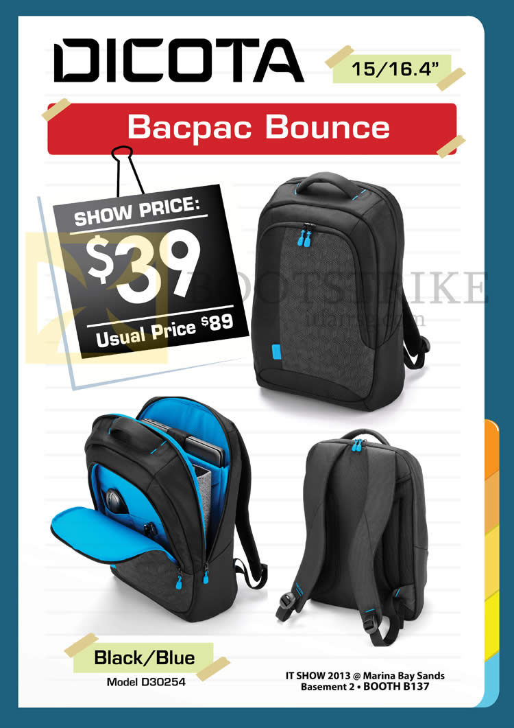 IT SHOW 2013 price list image brochure of Convergent Dicota Bacpac Bounce Bags D30254
