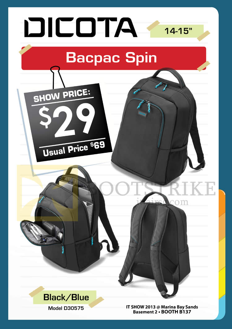 IT SHOW 2013 price list image brochure of Convergent Dicota Bacpac Spin D30575 Bags
