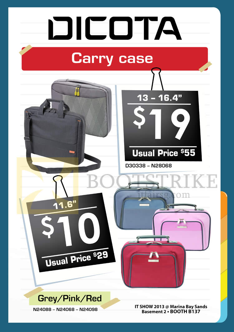 IT SHOW 2013 price list image brochure of Convergent Dicota Carry Case D30338 N28068 Carry Case Bags