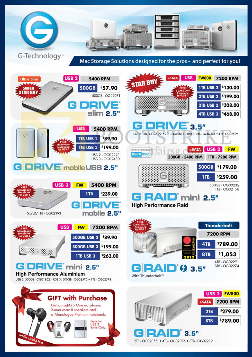IT SHOW 2013 price list image brochure of Convergent Hitachi G Technology External Storage G Drive, Mobile USB, Raid Mini, Drive Mini, Raid