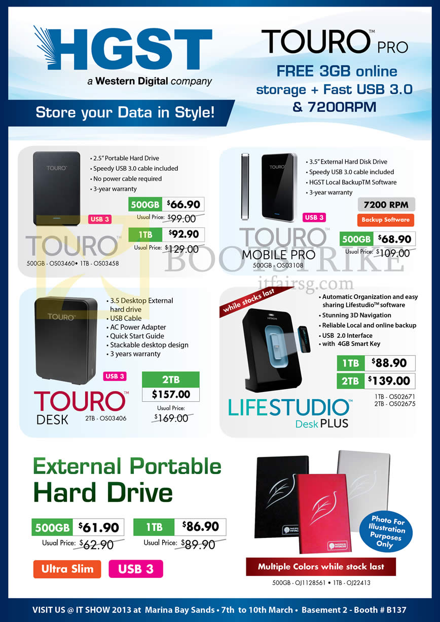 IT SHOW 2013 price list image brochure of Convergent Hitachi HGST External Storage Touro Pro, Mobile Pro, Desk, Lifestudio Desk Plus