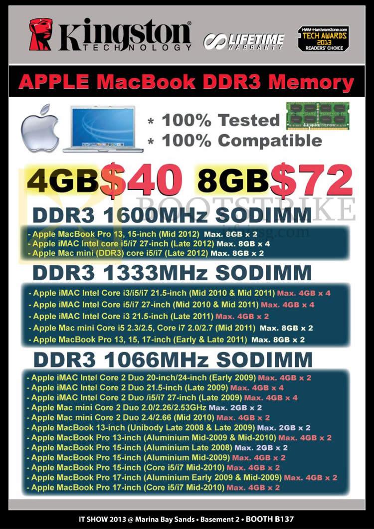 IT SHOW 2013 price list image brochure of Convergent Kingston Apple Macbook DDR3 Memory RAM