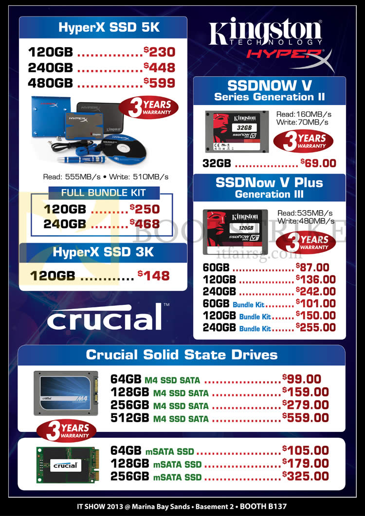IT SHOW 2013 price list image brochure of Convergent Kingston HyperX SSD 5K, 3K, SSDNow V, SSDNow V Plus, Crucial M4 SSD, MSATA