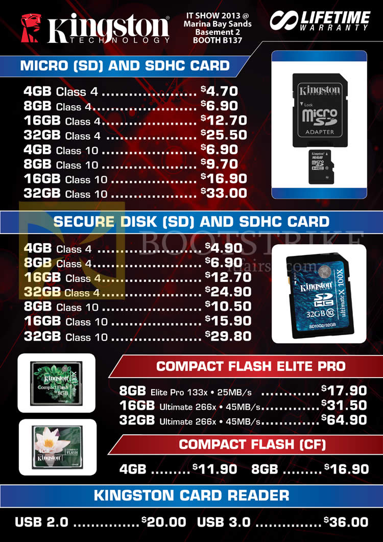 IT SHOW 2013 price list image brochure of Convergent Kingston MicroSD SDHC Flash Memory, SD, Compact Flash Elite Pro CF, Card Reader