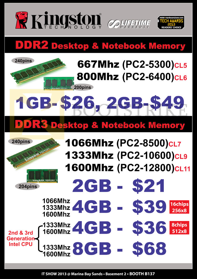 IT SHOW 2013 price list image brochure of Convergent Kingston RAM DDR2 Memory, DDR3