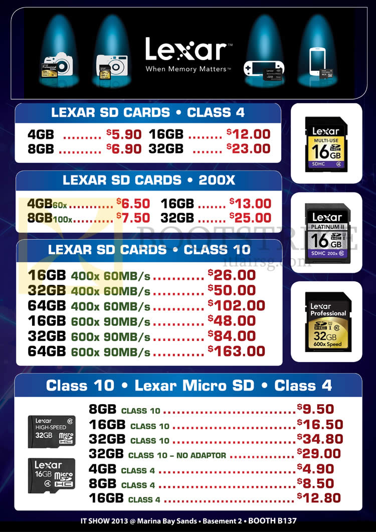 IT SHOW 2013 price list image brochure of Convergent Lexar SD Cards, MicroSD