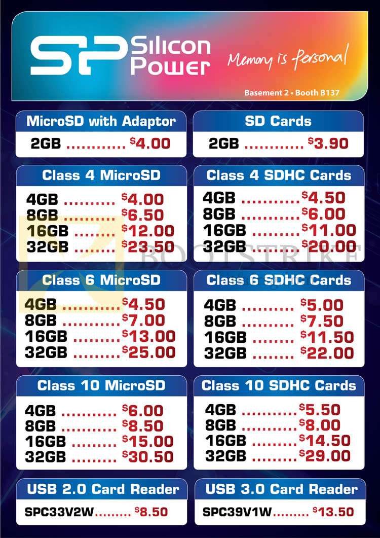IT SHOW 2013 price list image brochure of Convergent SP Silicon Power MicroSD, SDHC
