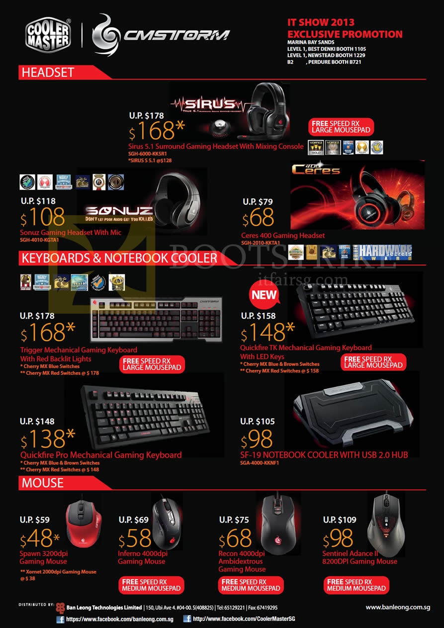 IT SHOW 2013 price list image brochure of Cooler Master CMStorm Jeadset Joris Spmiz Ceres, Keyboard Trigger Mechanical, Quickfire TK, Pro, SF-19 Notebook Cooler, Mouse Recon, Spawn, Inferno, Sentinel Advance II
