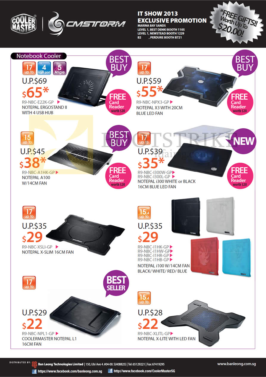 IT SHOW 2013 price list image brochure of Cooler Master CMStorm Notebook Coolers Notepal Ergostand II, X3, A100, I300, X-Slim, I100, X-Lite, L1