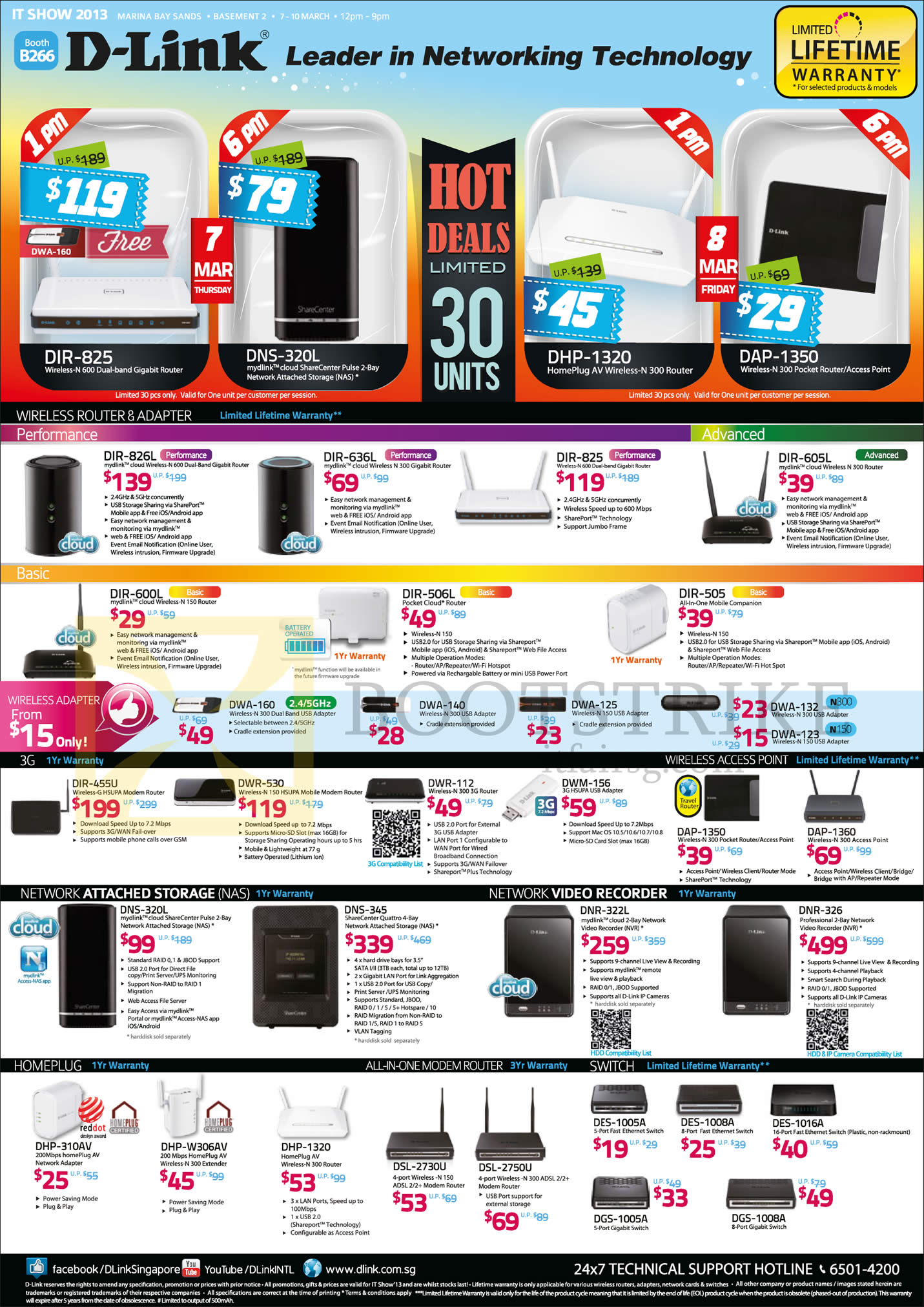 IT SHOW 2013 price list image brochure of D-Link Networking Wireless Router DIR, USB Adapter, 3G, 4G, Access Point, NAS, Network Video Recorder, HomePlug AV, ADSL2 Modem Router, Switch