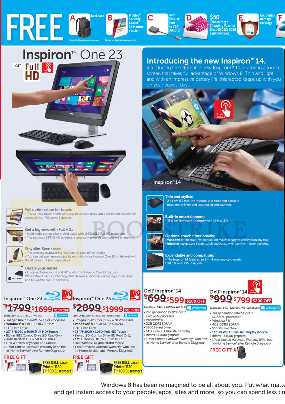 IT SHOW 2013 price list image brochure of Dell AIO Desktop PCs, Notebooks, Inspiron One 23, Inspiron 14