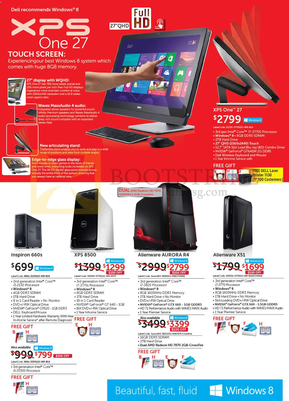 IT SHOW 2013 price list image brochure of Dell Desktop PCs, XPS One 27, Inspiron 660s, XPS 8500, Alienware Aurora R4, Alienware X51