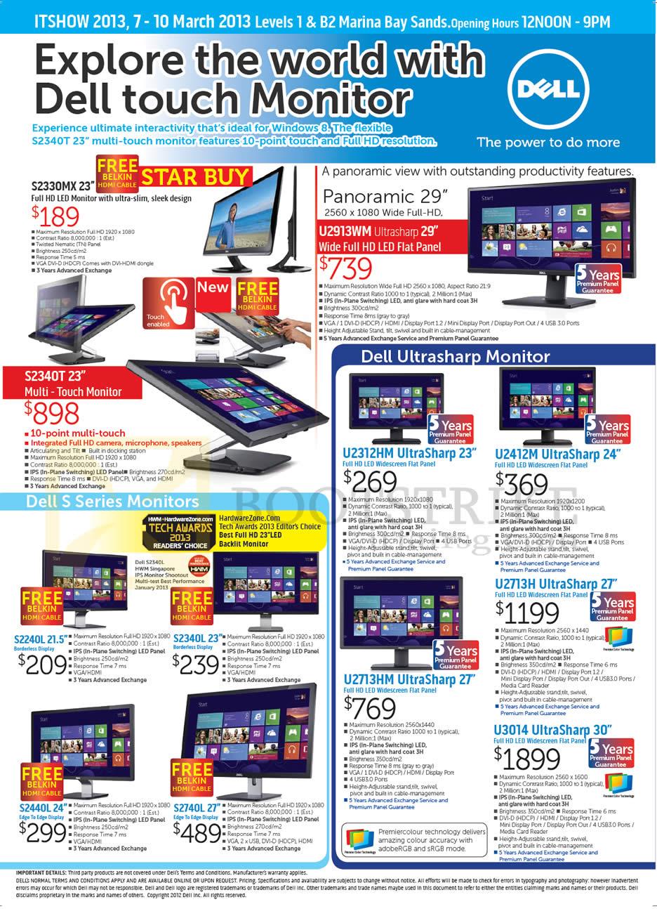 IT SHOW 2013 price list image brochure of Dell Monitors LED S2330MX 23, S2340T, U2913WM, S2240L, S2340L, S2440L, S2740L, U2312HM, U2412M, U2713H, U2713HM, U3014