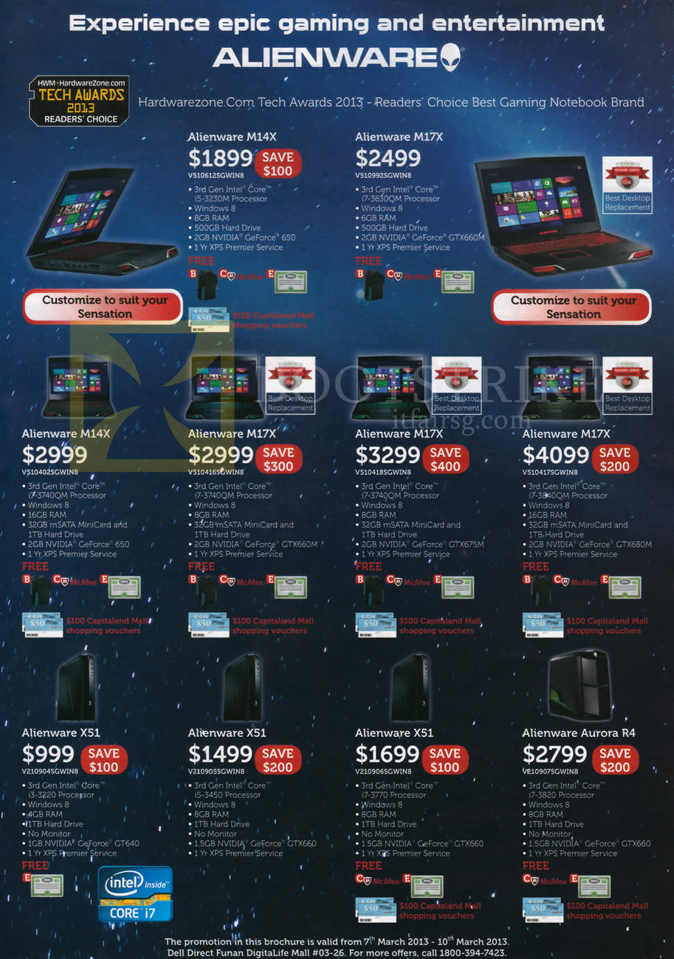IT SHOW 2013 price list image brochure of Dell Notebooks Alienware M14X M17X, Desktop PC X51, Aurora R4