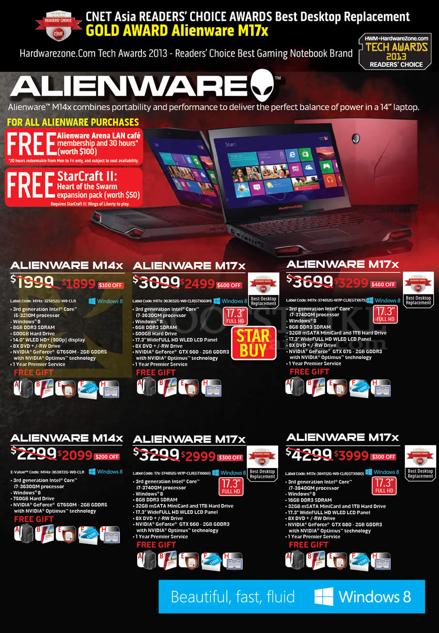 IT SHOW 2013 price list image brochure of Dell Notebooks Alienware M14X, M17X