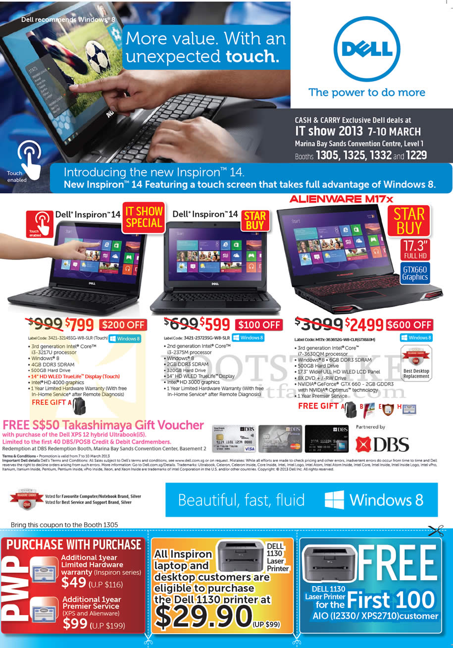 IT SHOW 2013 price list image brochure of Dell Notebooks Inspiron 14, Alienware M17X