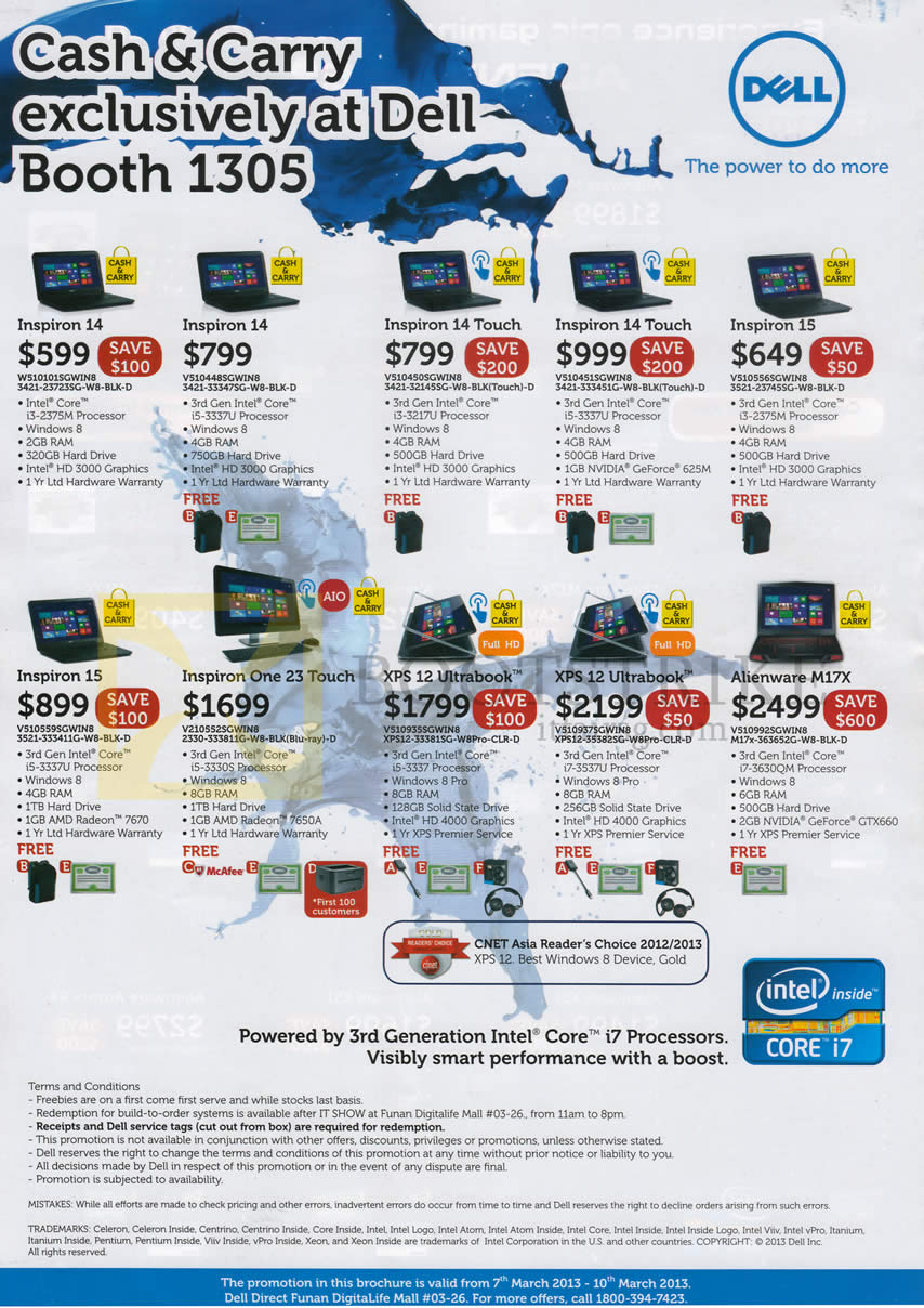 IT SHOW 2013 price list image brochure of Dell Notebooks Inspiron 14, Inspiron 14 Touch, Inspiron 15, Inspion One 23 Touch AIO Desktop PC, XPS 12 Ultrabook, Alienware M17X