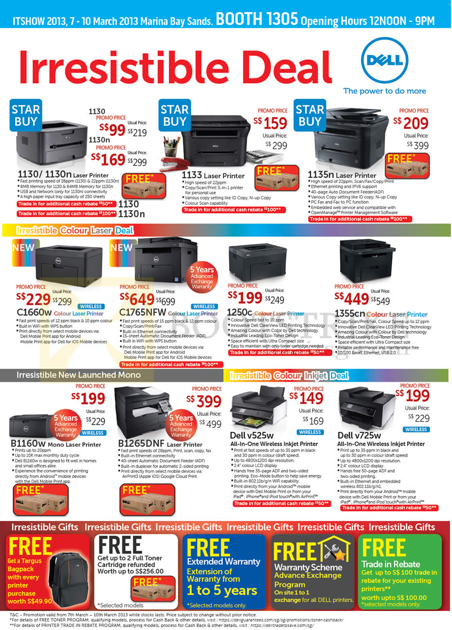 IT SHOW 2013 price list image brochure of Dell Printers Laser, Inkjet 1130, 1130n, 1133, 1135n, 1250c, 1355cn, C1660w, C1765NFW, B1160w, B1265DNF, V525w, V725w
