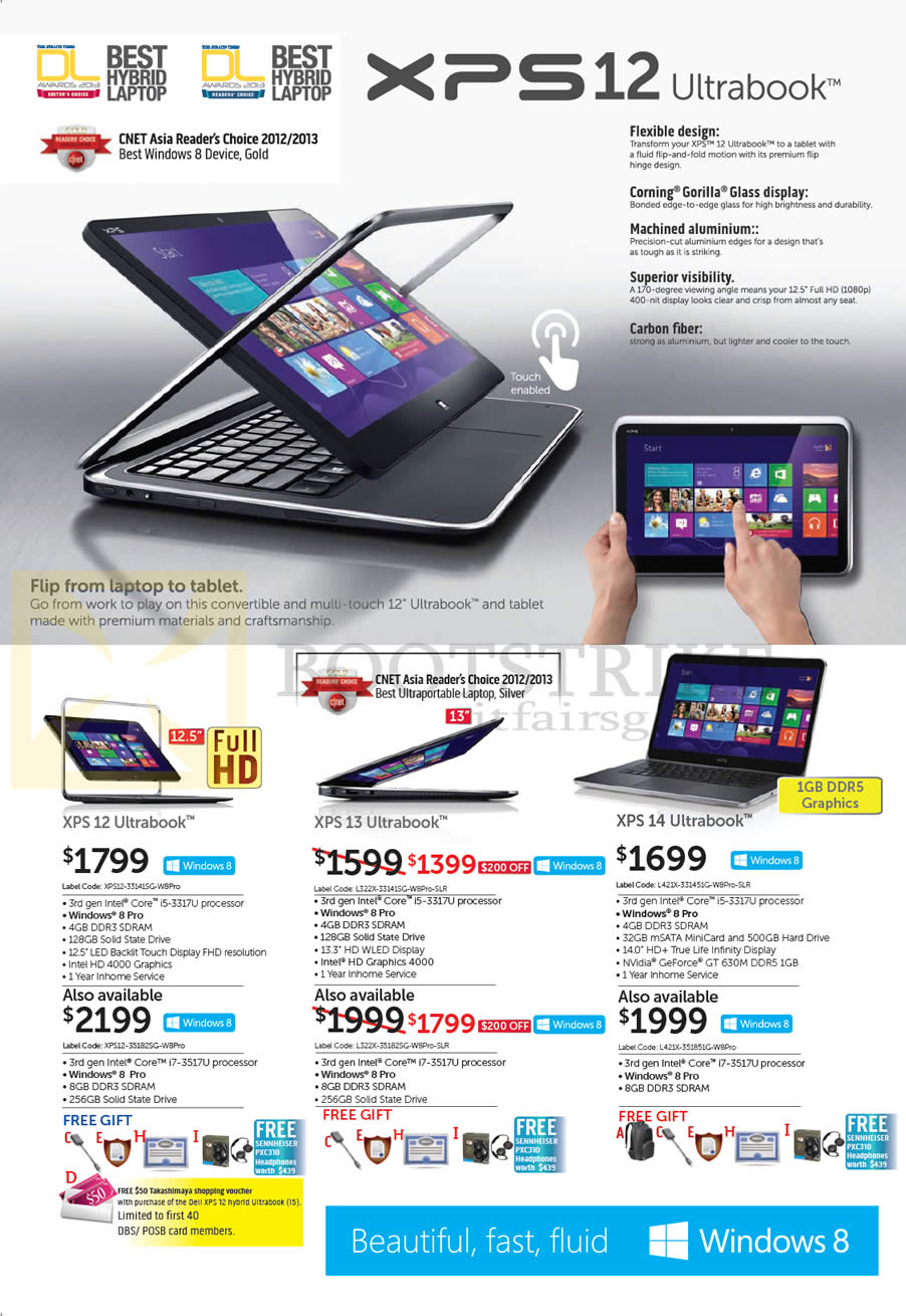 IT SHOW 2013 price list image brochure of Dell Ultrabook Notebooks XPS 12, XPS 13, XPS 14