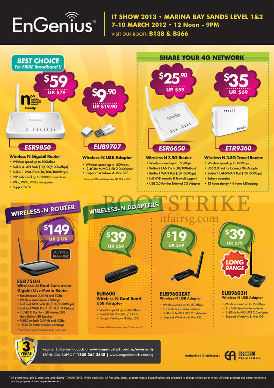 IT SHOW 2013 price list image brochure of Engenius Networking Wireless Router ESR9850 EUB9707, 4G ESR6650 ETR9360 ESR750H, USB Adapters EUB600 EUB9603EXT EUB9603H