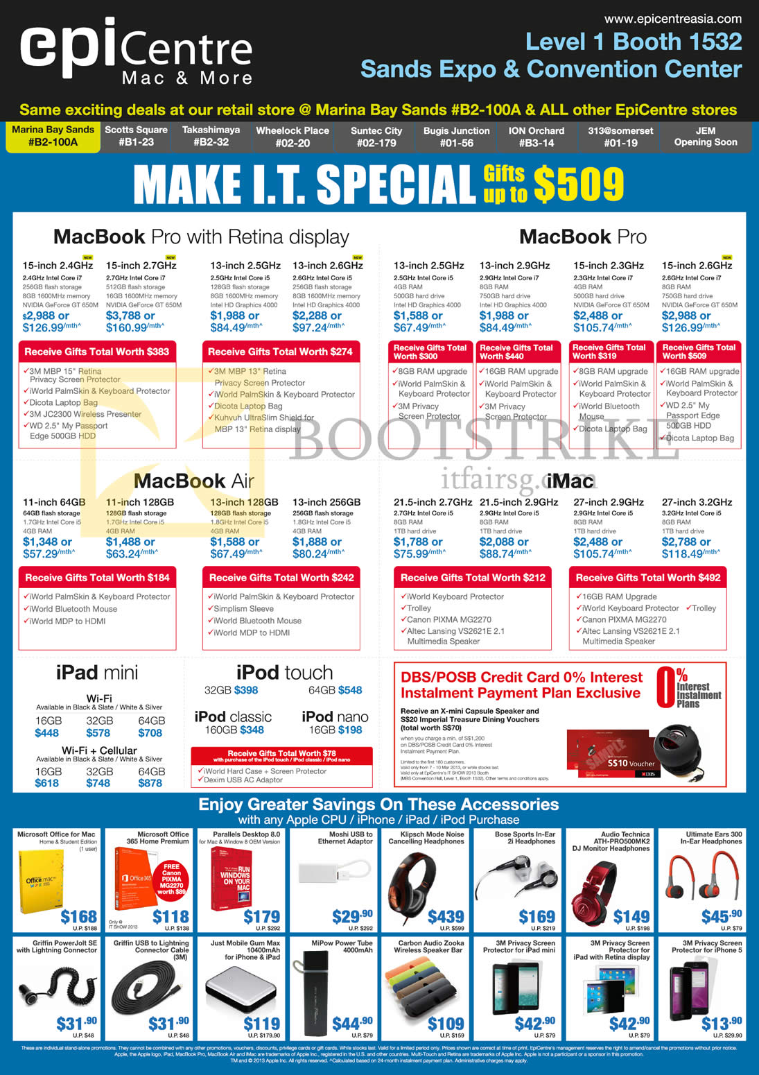 IT SHOW 2013 price list image brochure of EpiCentre Apple MacBook Pro, Air, IMac Desktop PC, IPad Mini, IPod Touch, IPod Classic, Nano, Parallels Desktop, Microsoft Office, 3M Privacy Screen, Ultimate Ears UE