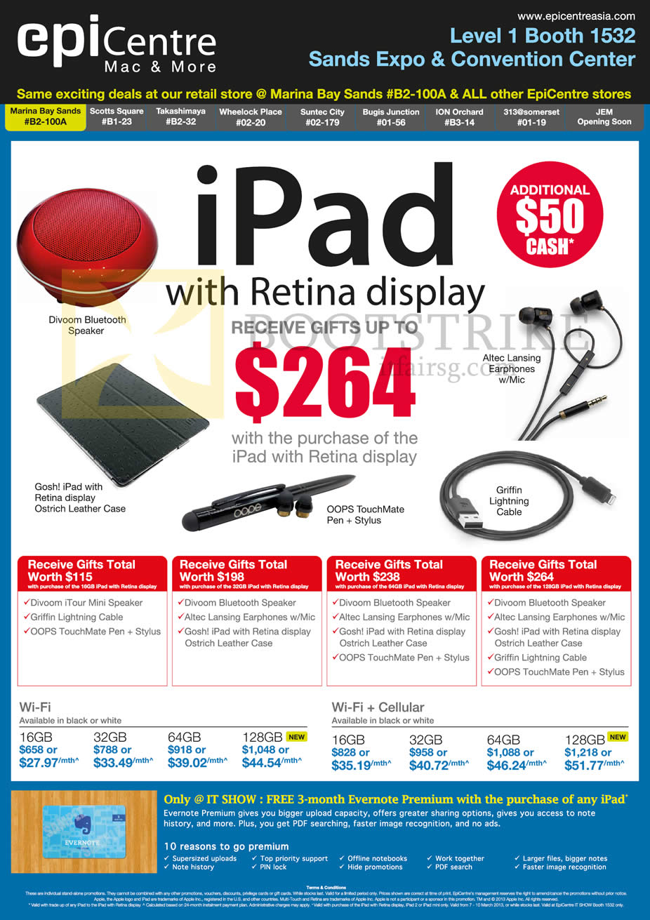 IT SHOW 2013 price list image brochure of EpiCentre Apple IPad 4 Tablet, Wi-Fi, Cellular
