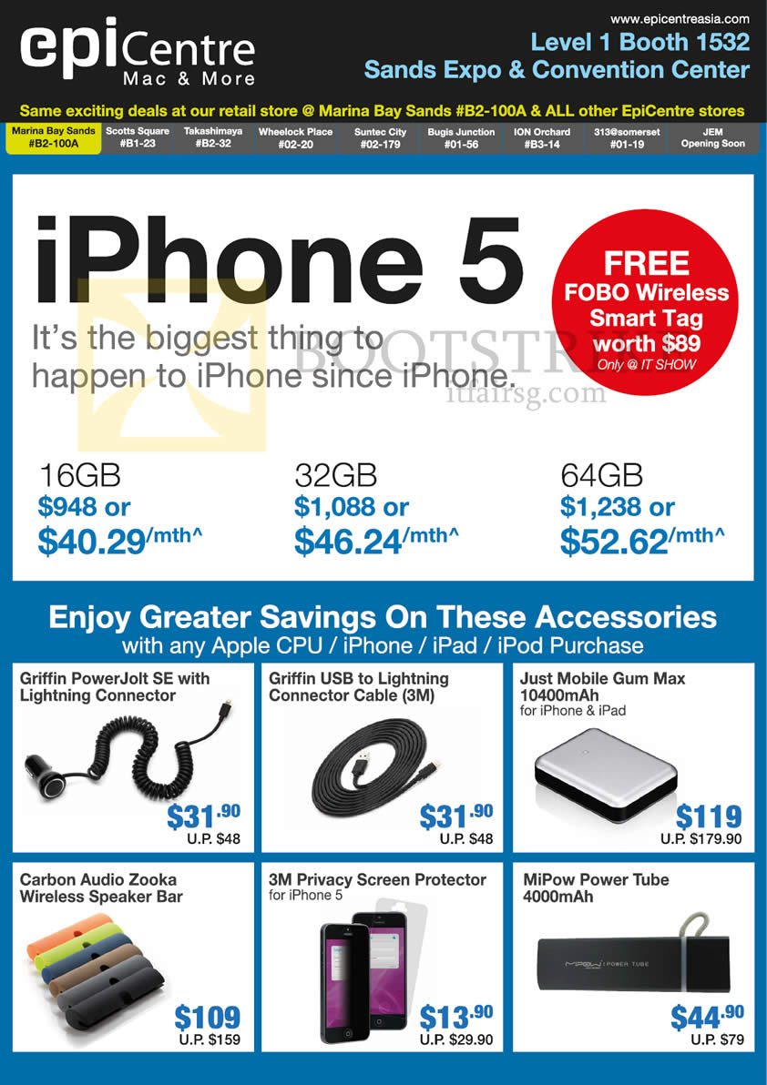 IT SHOW 2013 price list image brochure of EpiCentre Apple IPhone 5 Smartphone, Accessories Griffin, Just Mobile Gum Max, MiPow Power Tube, 3M Privacy Screen Protector