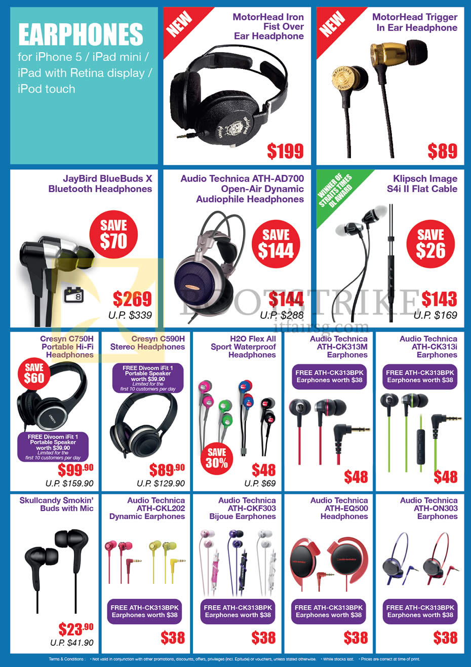 IT SHOW 2013 price list image brochure of EpiCentre Earphones Headphones MotorHead, JayBird BlueBuds X, Audio Technica ATH-AD700 CKL202 CKF303 EQ500 ON303, Klipsch S4i II, Cresyn, Skullcandy Smokin