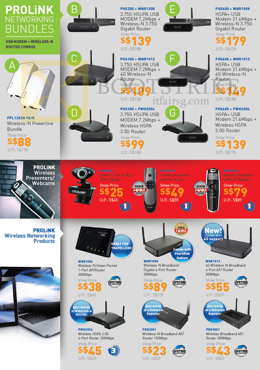 IT SHOW 2013 price list image brochure of Fida Prolink Networking Wireless HSUDPA 3G 3.5G 4G USB Modem Router, Powerline, Webcam, Presenter, Pocket Router