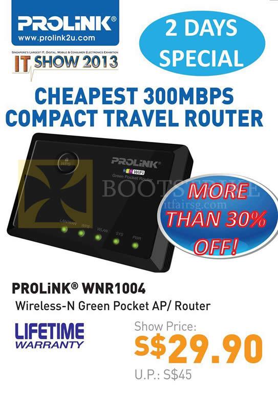 IT SHOW 2013 price list image brochure of Fida Prolink WNR1004 Wireless N Green Pocket AP Router