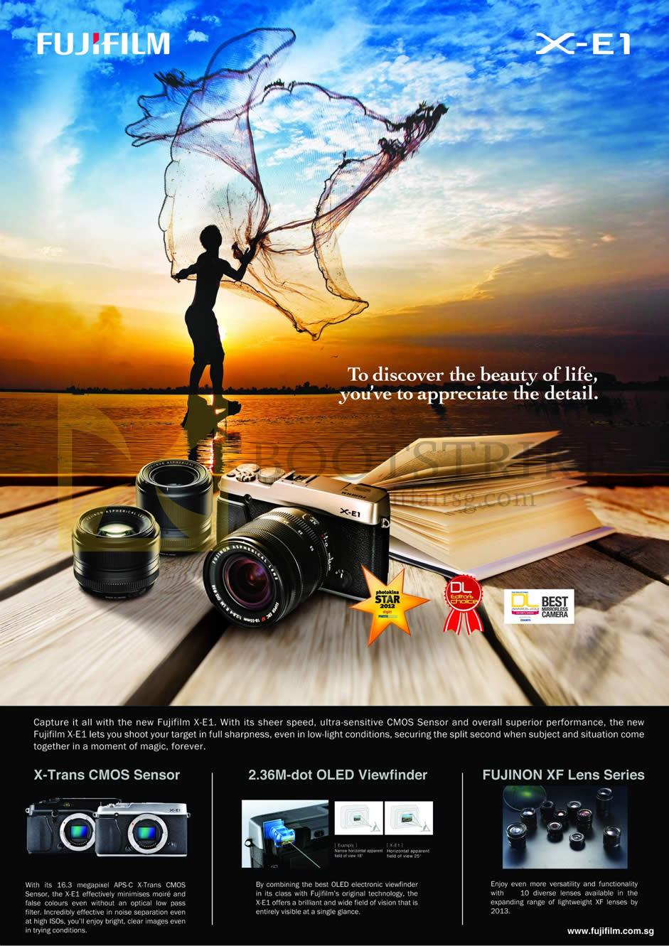 IT SHOW 2013 price list image brochure of Fujifilm Digital Camera X-E1 Features, X-Trans CMOS Sensor, OLED