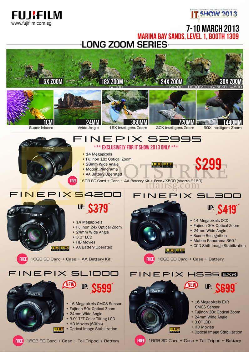 IT SHOW 2013 price list image brochure of Fujifilm Digital Cameras Finepix S2995, S4200, SL300, SL1000, HS35EXR