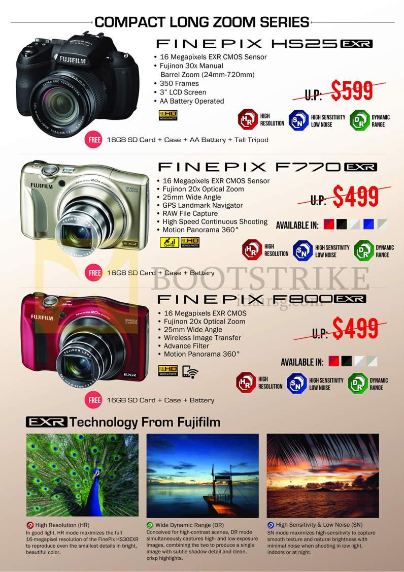 IT SHOW 2013 price list image brochure of Fujifilm Digital Cameras HS25EXR, F770EXR, F800EXR