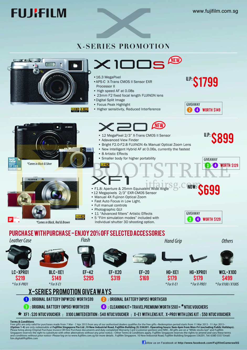 IT SHOW 2013 price list image brochure of Fujifilm Digital Cameras X Series X100s, X20, XF1, Purchase With Purchase Leather Case, Flash, Hand Grip