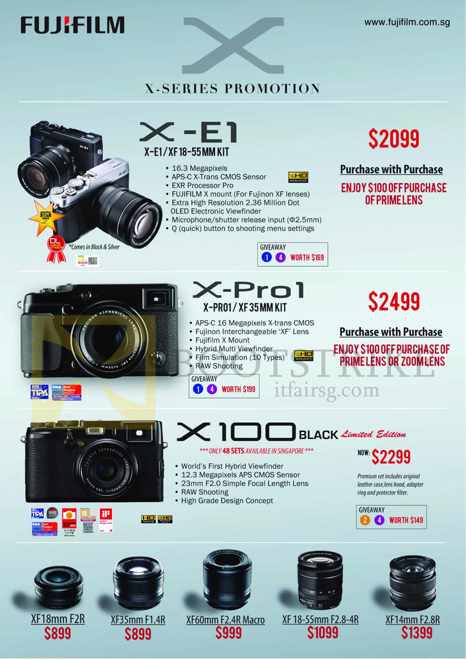 IT SHOW 2013 price list image brochure of Fujifilm Digital Cameras X-Series X-E1, X-Pro1, X100 Black Limited Edition, Lenses