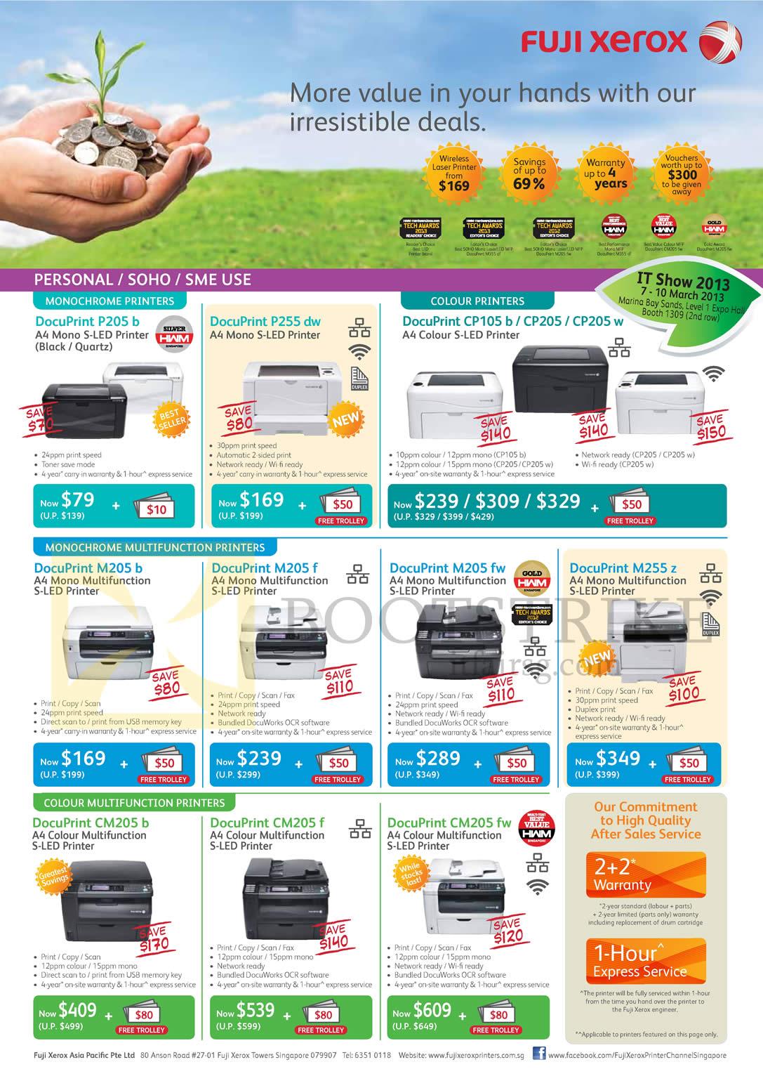 IT SHOW 2013 price list image brochure of Fujifilm Fuji Xerox Printers DocuPrint P205 B, P255d W, CP150 B, CP205 W, M205 B, M205 F, M205 Fw, M255 Z, CM205 B, CM205 F, CM205 Fw