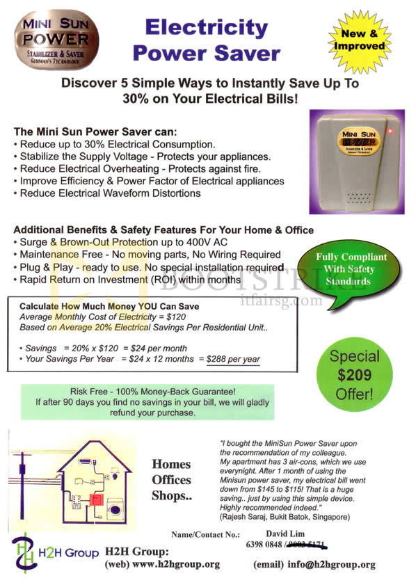 IT SHOW 2013 price list image brochure of H2H Electricity Power Saver Mini Sun Saver