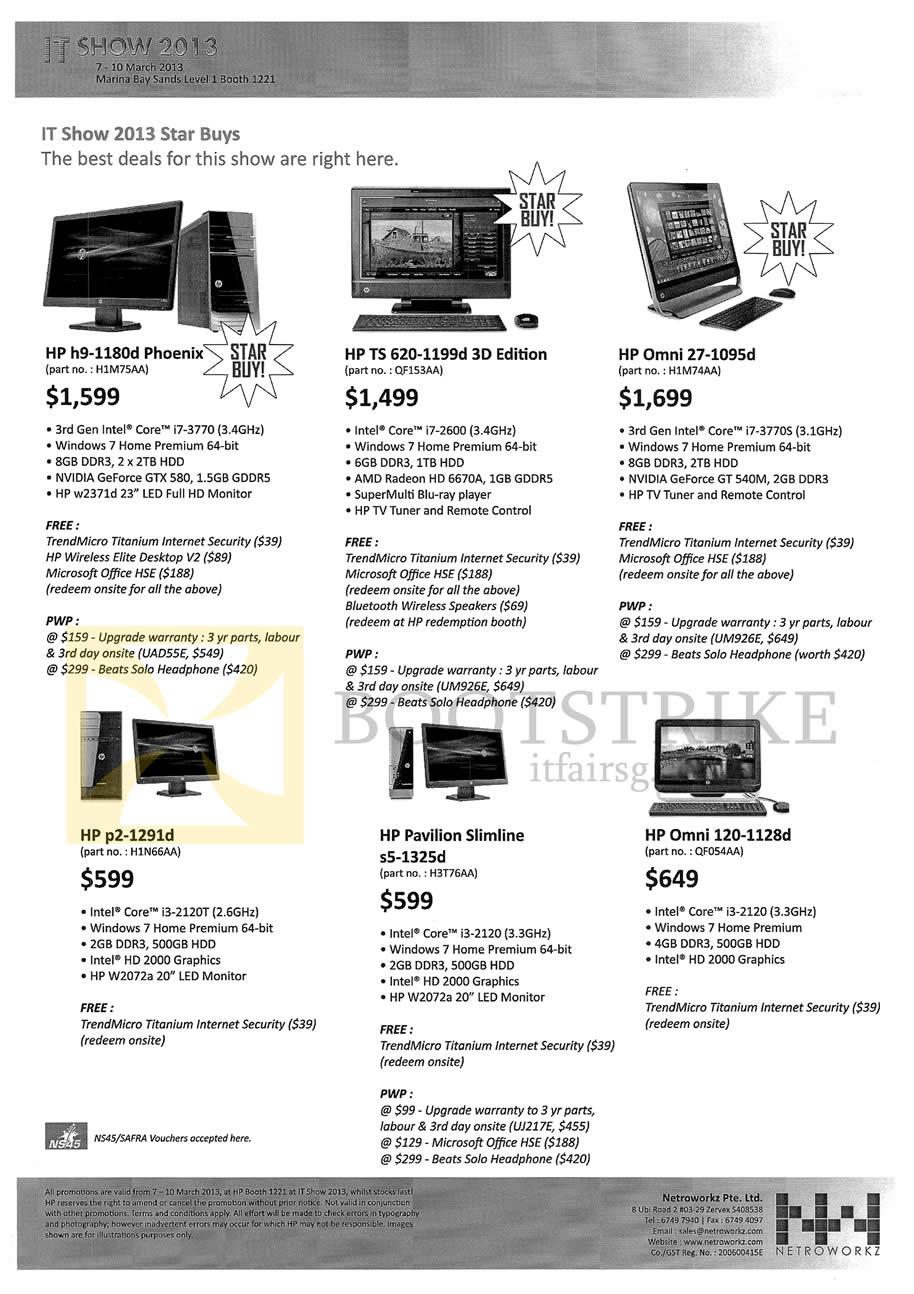 IT SHOW 2013 price list image brochure of HP Desktop PCs AIO H9-1180d Phoenix, TS 620-1199d 3D, Omni 27-1095d, P2-1291d, Pavilion Slimline S5-1325d, Omni 120-1128d