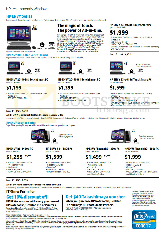 IT SHOW 2013 price list image brochure of HP Desktop PCs, AIO Desktop PCs, Envy 23-d028d, 20-d028d, 20-d038d, 23-d018d, H8-1480d, H8-1580d, H9-1330d, H9-1380d