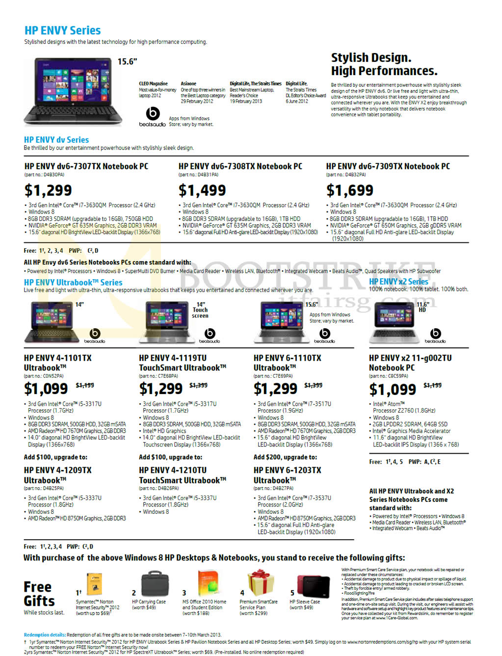IT SHOW 2013 price list image brochure of HP Notebooks Ultrabooks Dv6-7307Tx, 7308TX, 7309TX, Envy 4-1101TX, 4-1119TU, 6-1110TX, X2 11-g002TU