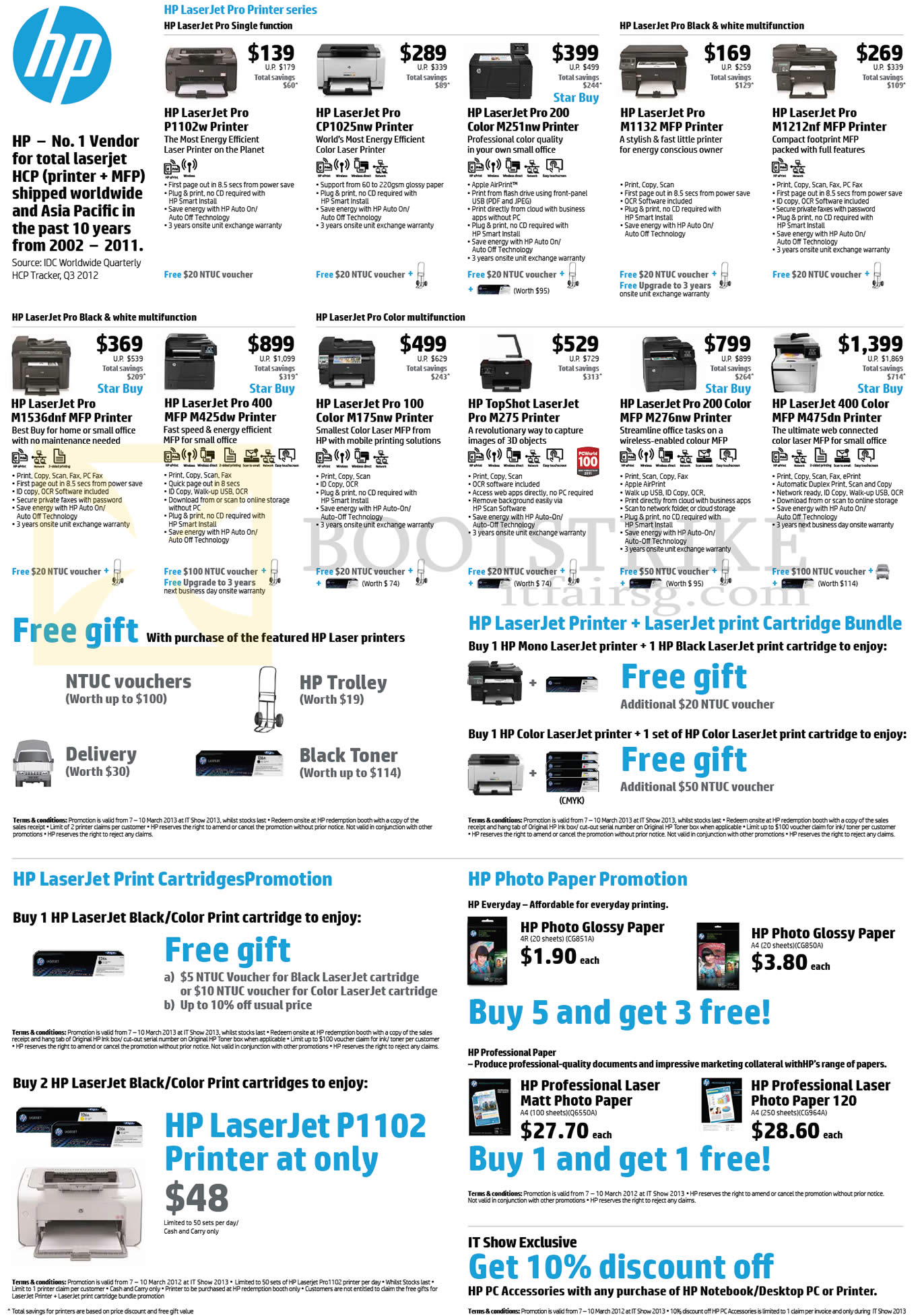 IT SHOW 2013 price list image brochure of HP Printers Laser Laserjet Pro P1102W, CP1025nw, M1132, M1212nf, M1536dnf, M425dw, M175nw, M275, M276nw, M475dn