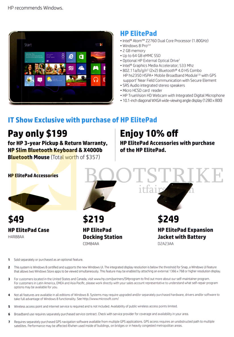 IT SHOW 2013 price list image brochure of HP Tablet ElitePad Specifications, Accessories Case, Docking Station, Expansion Jacket