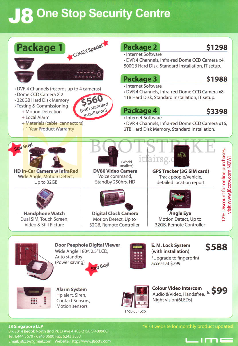 IT SHOW 2013 price list image brochure of J8 CCD Cameras Dome CCD DVR Packages, In Car Video Recorder Watch, Clock Camera