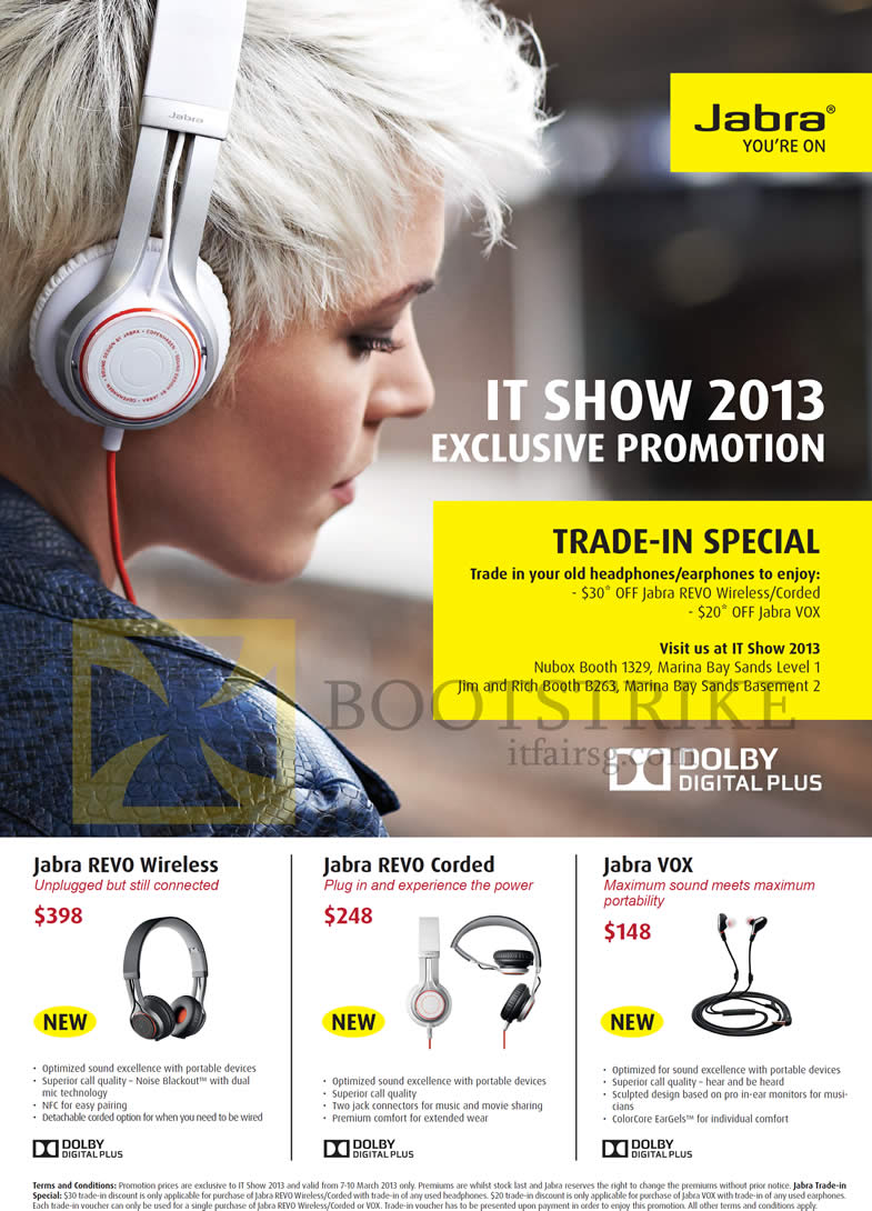 IT SHOW 2013 price list image brochure of Jabra Bluetooth Headsets Revo Wireless, Revo Corded, Vox Earphones, Trade In