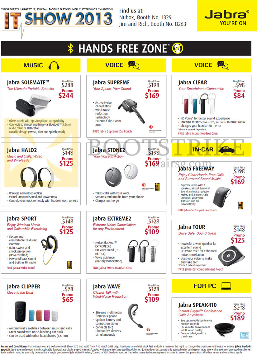 IT SHOW 2013 price list image brochure of Jabra Bluetooth Headsets Solemate, Supreme, Clear, Halo2, Stone2, Freeway, Tour, Sport, Extreme2, Clipper, Wave, Speak410