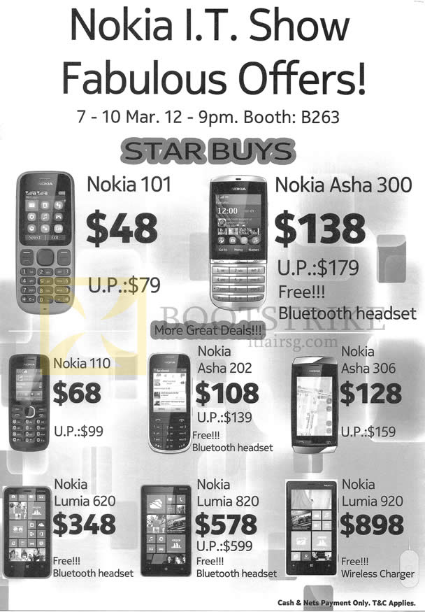 IT SHOW 2013 price list image brochure of Jim & Rich Nokia Mobile Phones 101, 110, Lumia 620, 820, 920 Asha 300, 202, 306