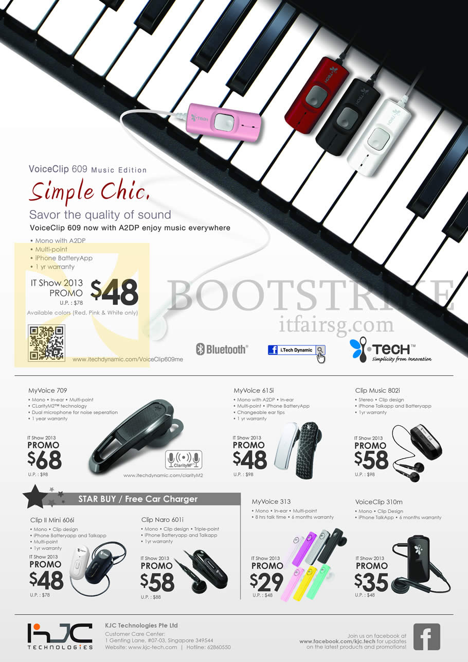 IT SHOW 2013 price list image brochure of KJC ITech VoiceClip 609 Bluetooth Headset, MyVoice 709, 615i, Clip Music 802i, 313, VoiceClip 310m, Clip II Mini 606i, Naro 6011