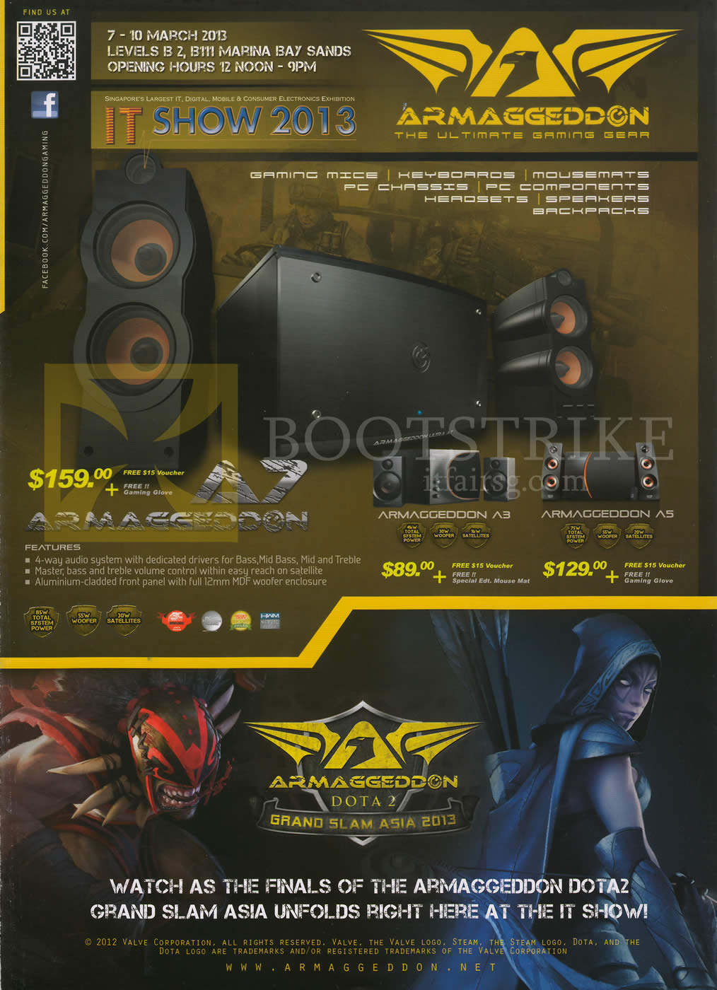 IT SHOW 2013 price list image brochure of Leap Frog Armaggeddon Speakers A7, A3, A5, Dota2 Finals
