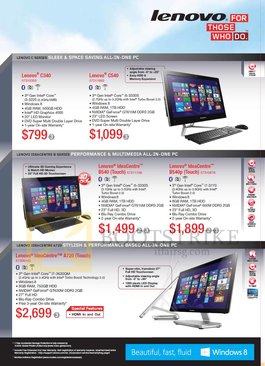 IT SHOW 2013 price list image brochure of Lenovo AIO Desktop PC C340, C540, IdeaCentre B530, B540p, IdeaCentre A720