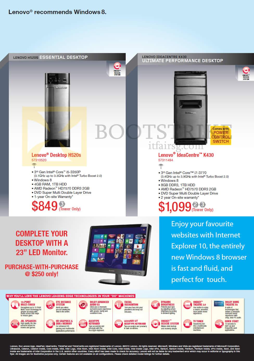 IT SHOW 2013 price list image brochure of Lenovo Desktop PC H520s, IdeaCentre K430